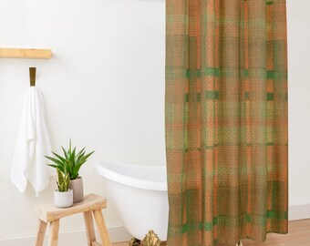 Tartan Plaid Shower Curtain, Orange, Green, Tartan Plaid, Cabin Decor, Rustic Earth Colors,  Fall Plaid Bath Decor, Rustic Bath Decor