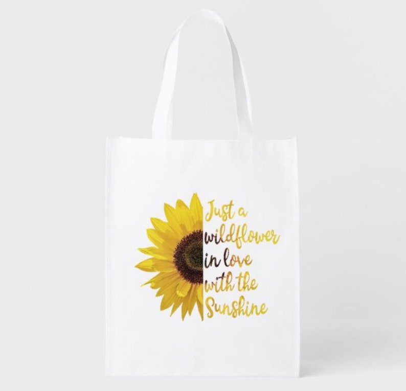 Reusable Shopping Bag Just a Wildflower in Love with Sunshine image 1
