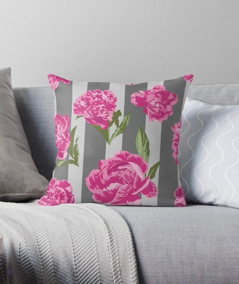 Pink Vintage Peonies on Gray Stripe Decorative Throw Pillow image 1