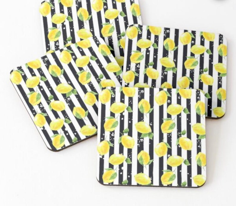 Coaster Set of 4 Zesty Yellow Lemons Black & White Stripe image 0