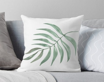 Tropical Palm Pillow Cover, Light and Airy, Watercolor Palm, Crisp White Pillow Cover, Tropical Home Accent Pillow, Coastal Living Refresh