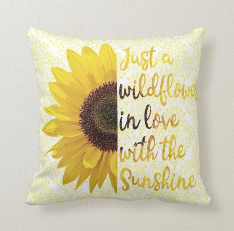 Pillow Sunflower Just a Wildflower in Love with Sunshine image 1