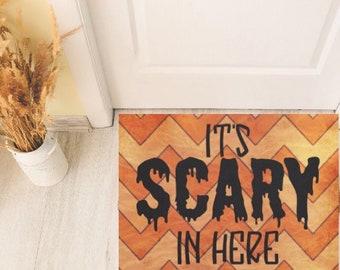 """Halloween Door Mat """"It's Scary in Here"""" Orange Chevron, Indoor Outdoor Mat, Halloween Porch Mat, Halloween Home Decor"""
