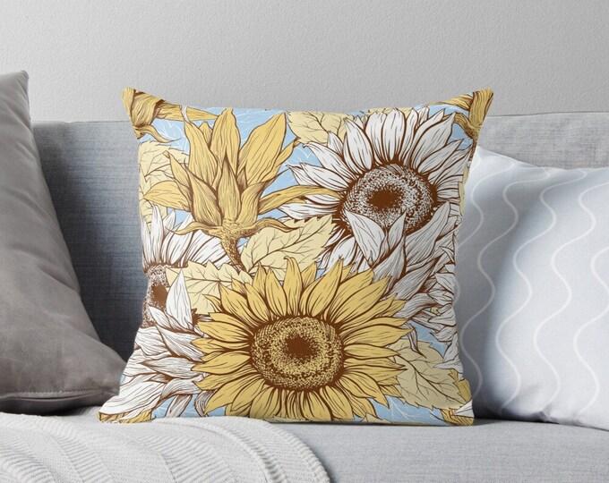 Sunflower Pillow Cover, 16 X 16, Sunflower Home Decor, Front Porch Pillow, Floral Pillow Cover, Premium Zippered Pillow Cover