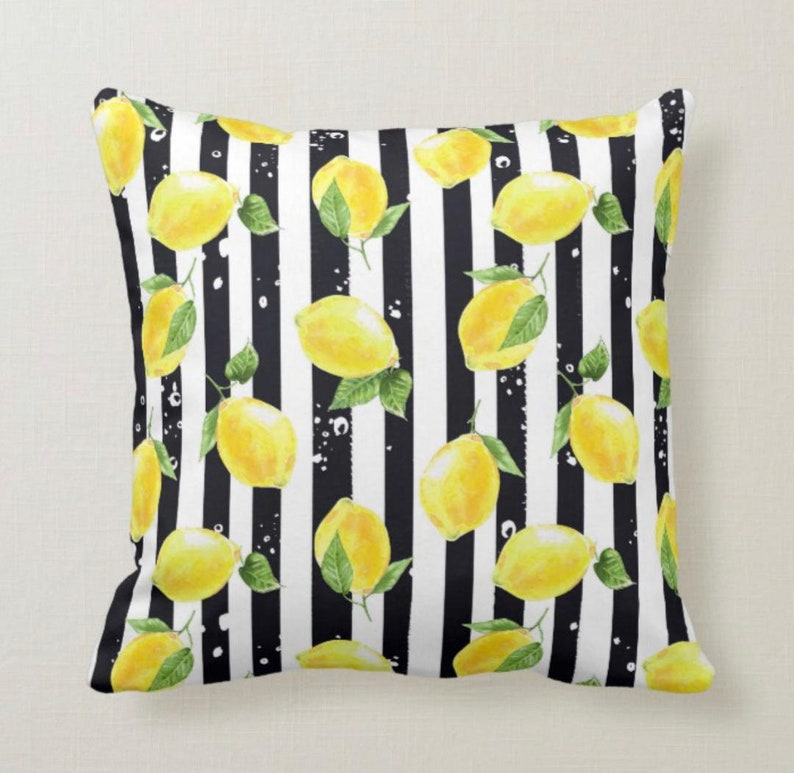 Throw Pillow Yellow Lemon Pattern Black & White Striped image 0