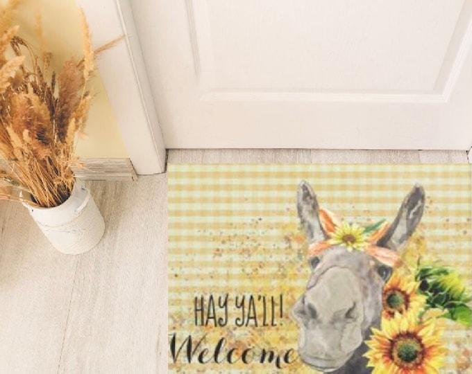 "Sunflower Donkey Door Mat, Watercolor Donkey with Sunflowers ""Hay Ya'll Welcome"" Indoor Outdoor Mat, Summer and Fall Sunflower Door Mat"