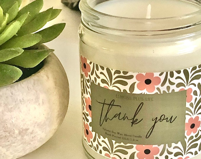 Thank You Candle, Natural Soy Wax Blend 7.5oz Candle, Thank You Gifts, Gift for Her, Pink Tan Floral, Message Candle, Jasmine Lavender Scent