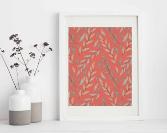Coral Wall Decor, Gray Botanic, Coral Wall Art, Coral Wall Accent, Coral Living Room Refresh, Botanic Art, Ready to Frame Wall Art Print