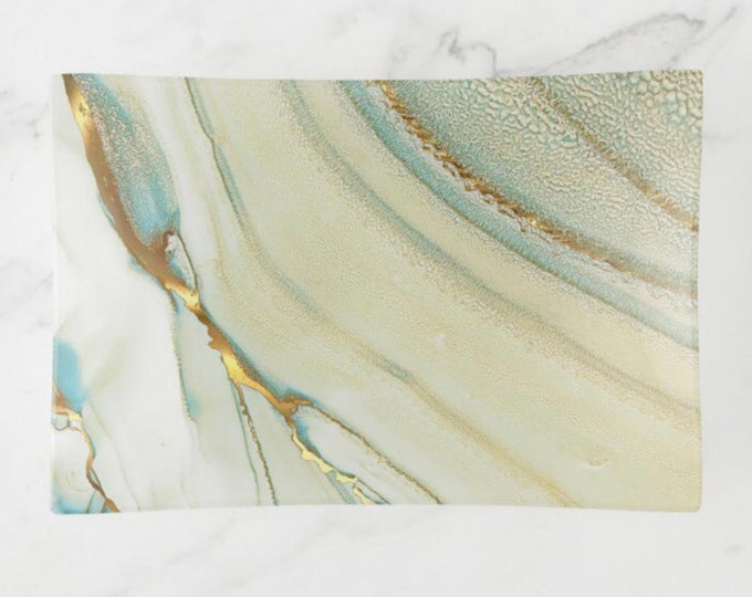 """Abstract Glass Tray, Trinket Dish """"Ocean Waves"""" Abstract Design, Beach Home"""