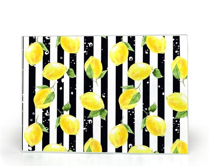 Lemons, Glass Cutting Board, Black And White Stripe
