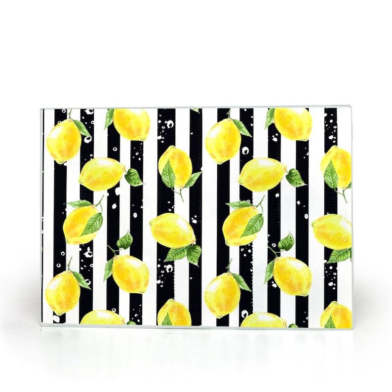 Lemons Glass Cutting Board Black And White Stripe image 0