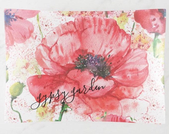 """Glass Tray, Red Poppy """"Gypsy Garden"""" Floral, Wildflower, Glass Trinket Tray"""