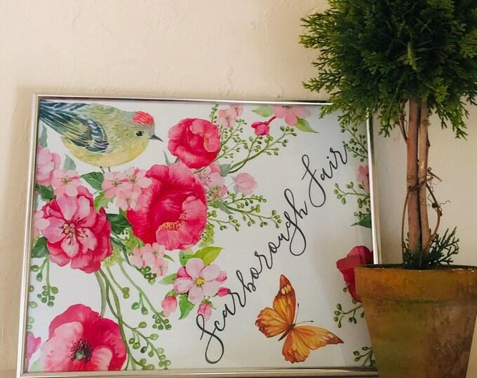 Wall Art, Red Poppy, Wildflower Garden, Scarborough Fair, Poster, Art Print