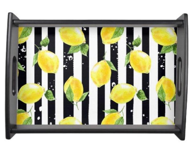 Wood Tray, Yellow Lemon, Black and White Stripe, Lemon and Stripe, Serving Tray