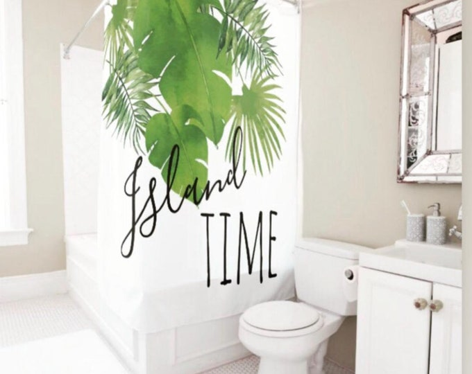 """Polyester Tropical Island, Shower Curtain, Watercolor Tropical Leaves, """"Island Time"""" Green, White, Spa Shower Curtain"""