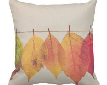 """Throw Pillow """"Leaves On A String"""""""