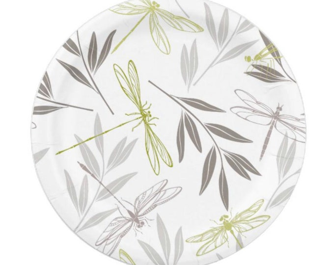 Paper Plates, Dragonfly, Bamboo Leaves, Gold, Grey, White, Party Plates