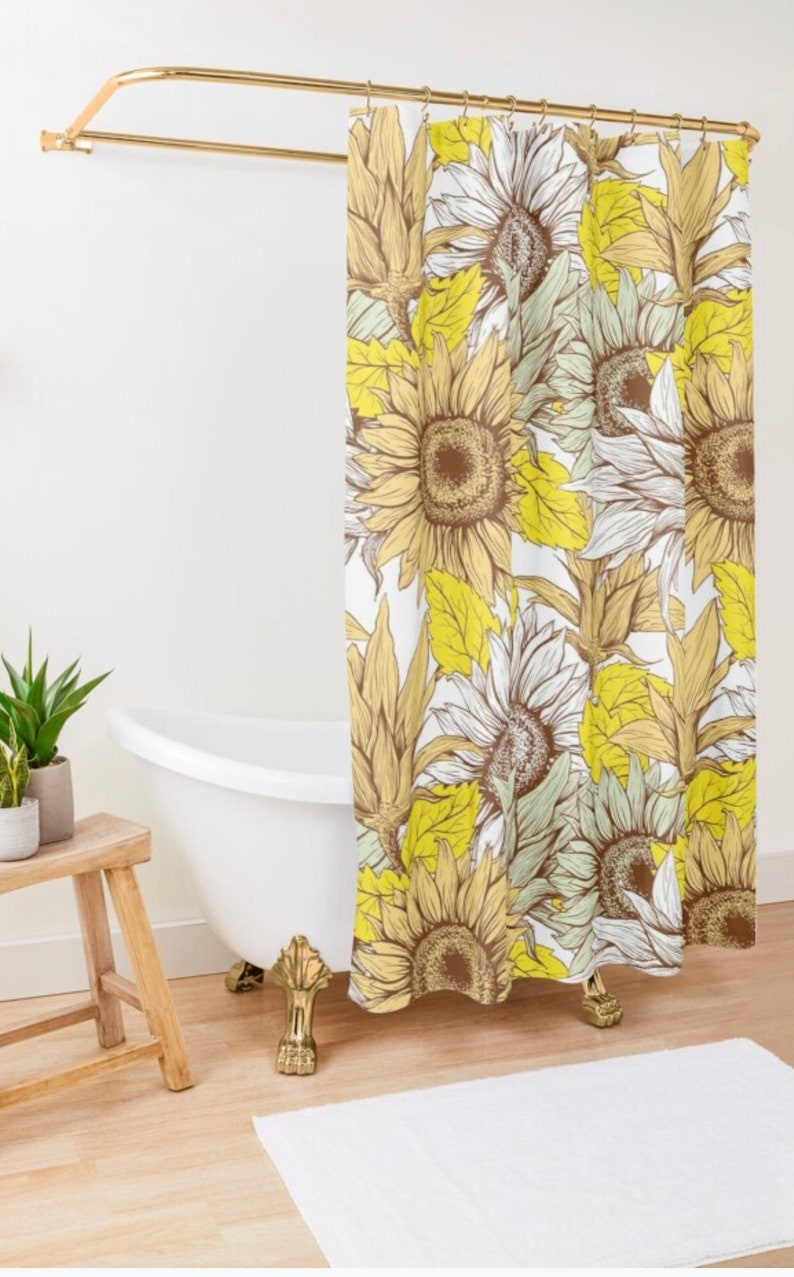 Polyester Sunflower Shower Curtain Sunflower Floral Print image 1