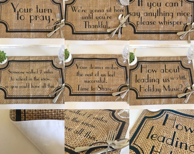 Funny Sayings, Thanksgiving Table, Placemat Set of 6, Family Drama, Fall Placemats, Burlap Design, Cloth Placemats With Words, Fall Decor
