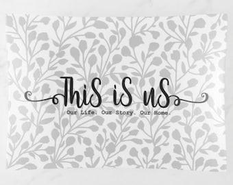 """Glass Tray """"This is Us. Our Life. Our Story. Our Home."""" White & Grey, Wedding Gift, Valentine's Day Gift, Anniversary Gift"""