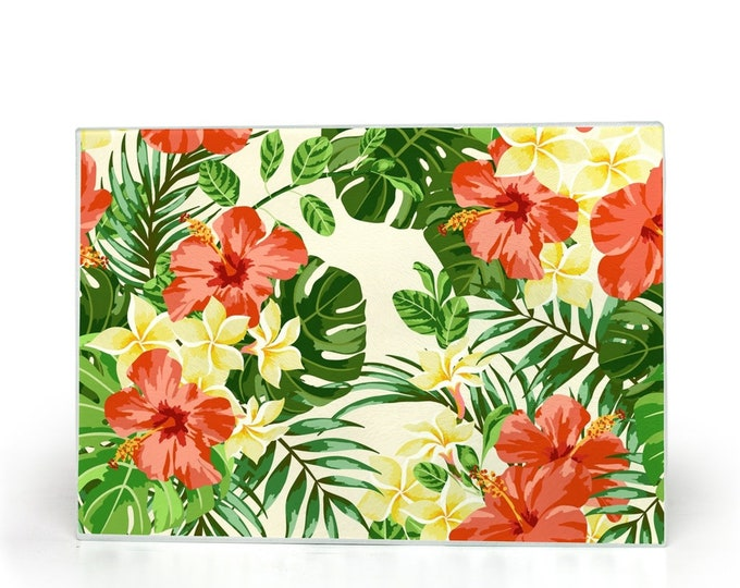 Glass Cutting Board, Red Hibiscus, Tropical Leaves