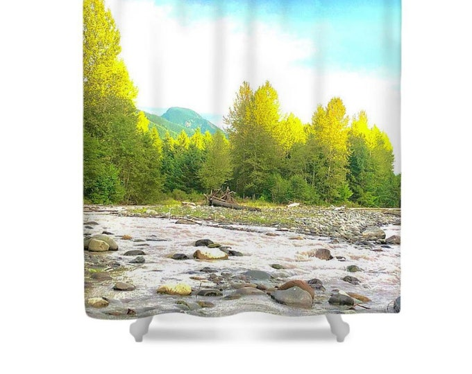 """Polyester Shower Curtain """"Mountain River Wilderness, Evening Glow on Treetops"""""""