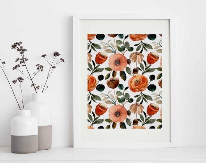 Orange Floral Wall Art, Orange and Peach Floral Print,  Earth Tones Flower Wall Decor