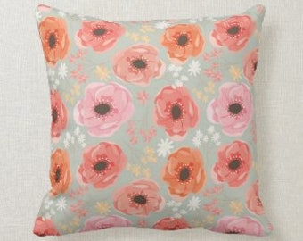 Floral Pillow, Orange, Peach, Pink, Coral Colors Accent Pillow, Floral Home Accent Pillow, Coral Living Room Refresh, Cover  and Pillow