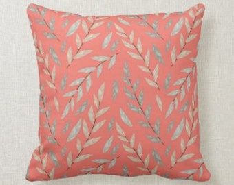 Coral Botanic Pillow, Gray Botanic, Coral Accent Pillow, Coral Pillow, Pillow and Cover, Botanic Pillow, Coral and Gray Pillow, Room Refresh