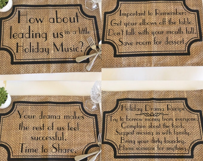 Thanksgiving Table Placemat Set of 4, Cloth, Funny Sayings, Family Drama, Burlap Design, Woven Cotton Fabric