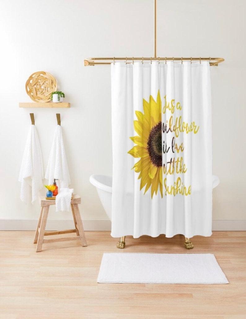 Shower Curtain Sunflower Design Just a Wildflower in love image 1