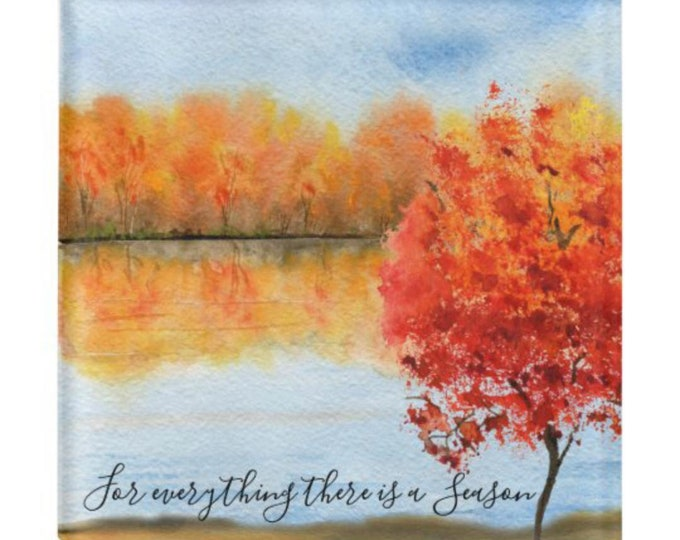 """Autumn Glass Coaster, Quote """"For everything there is a season."""" Watercolor Fall Landscape, Fall Decor, Fall Coaster, Fall Gift, Thanksgiving"""