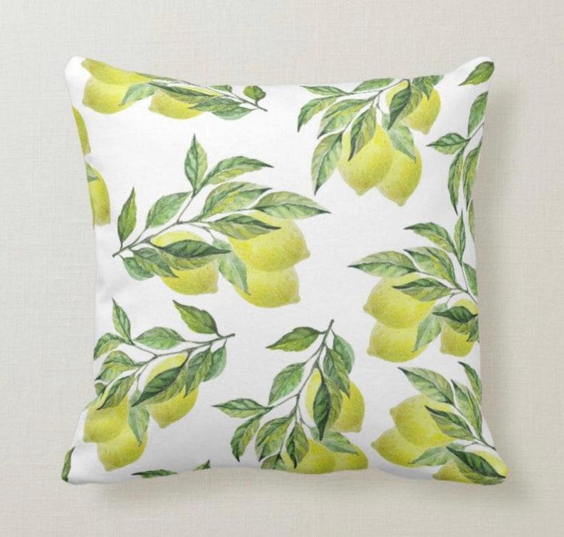 Lemon Throw Pillow Yellow Lemon Bouquets and Leaves Lemon image 1