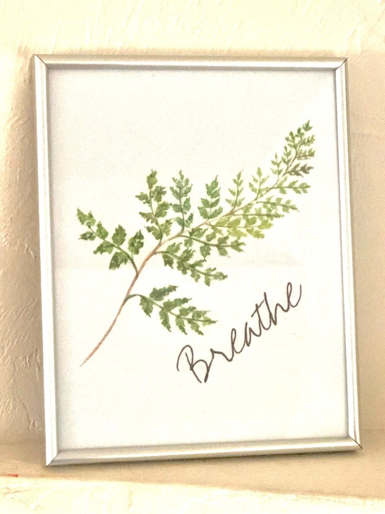 Watercolor Fern Frond 8 X 10 Art Typography Print image 0