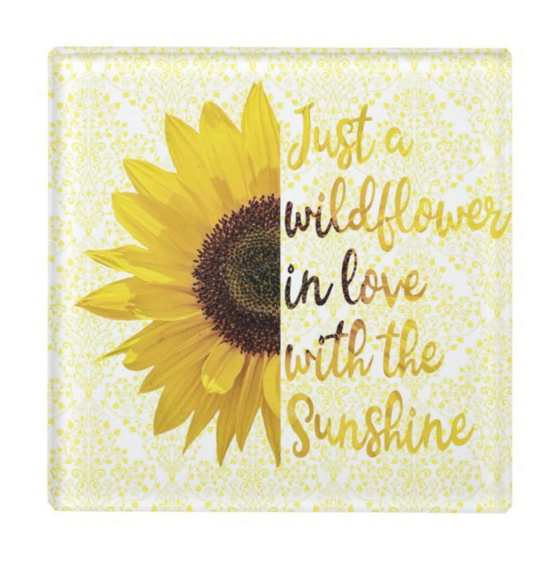 Glass Coaster Sunflower Just a Wildflower in Love with image 1