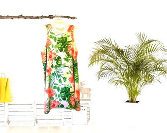 A-Line Dress, Tropical Style, Leaves, Red Hibiscus, Yellow Plumeria, Loose, Flowy Fit, Flatters All Figures, Womens Dress