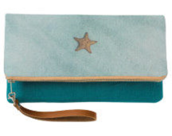Starfish Teal Fold Over Clutch