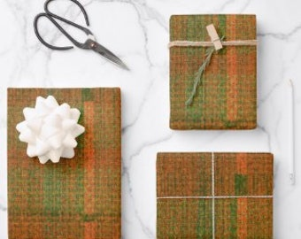 Tartan Plaid Wrapping Paper, Orange Green Tartan Plaid Pattern, Earth Colors Gift Paper, Fall Plaid Paper, Set of 3, Flat Pre-Cut Sheets