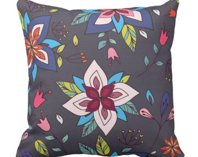 Floral Boho Pattern Decorative Pillow Blue Background