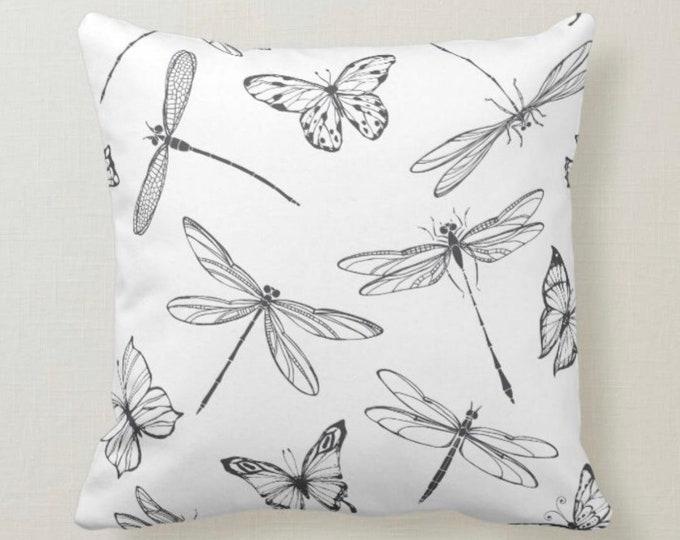 Pillow, Butterflies, Dragonflies, Pattern, Black & White, Throw Pillow