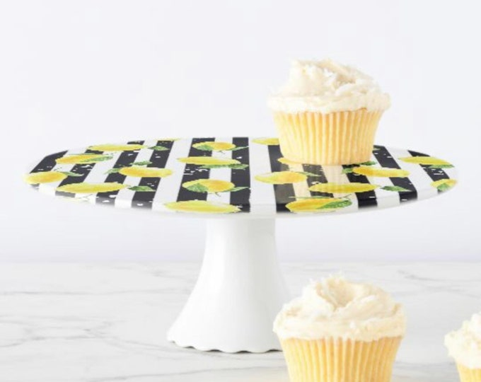 Lemon Cake Stand, Yellow Lemon and Stripe, Black and White Stripe, Porcelain, Pedestal Cupcake Stand