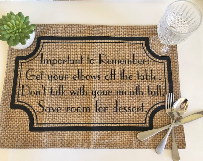"""Funny Thanksgiving Placemat with Words, """"Important to Remember"""" Fall Cloth Placemat, Burlap Design, Fall Table Decor"""