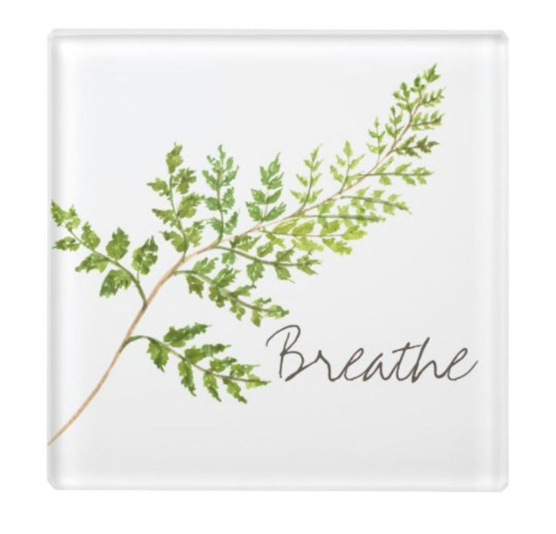 Glass Coaster Breathe Green Fern Botanical image 1