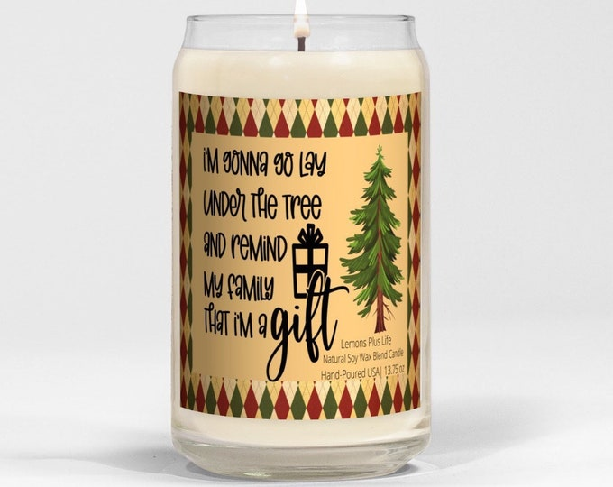 Funny Christmas Candle, Lay Under the Tree, Large Soy Wax Blend Candle 13.75 oz, Vanilla Bean, Retro Design, Gift for Her, Message Candle