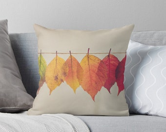Fall Pillow Cover, Autumn Leaves On a String, Fall Pillow Decor, Pillow Cover Only, Fall Leaves Pillow, Fall Leaves Home Accent Pillow