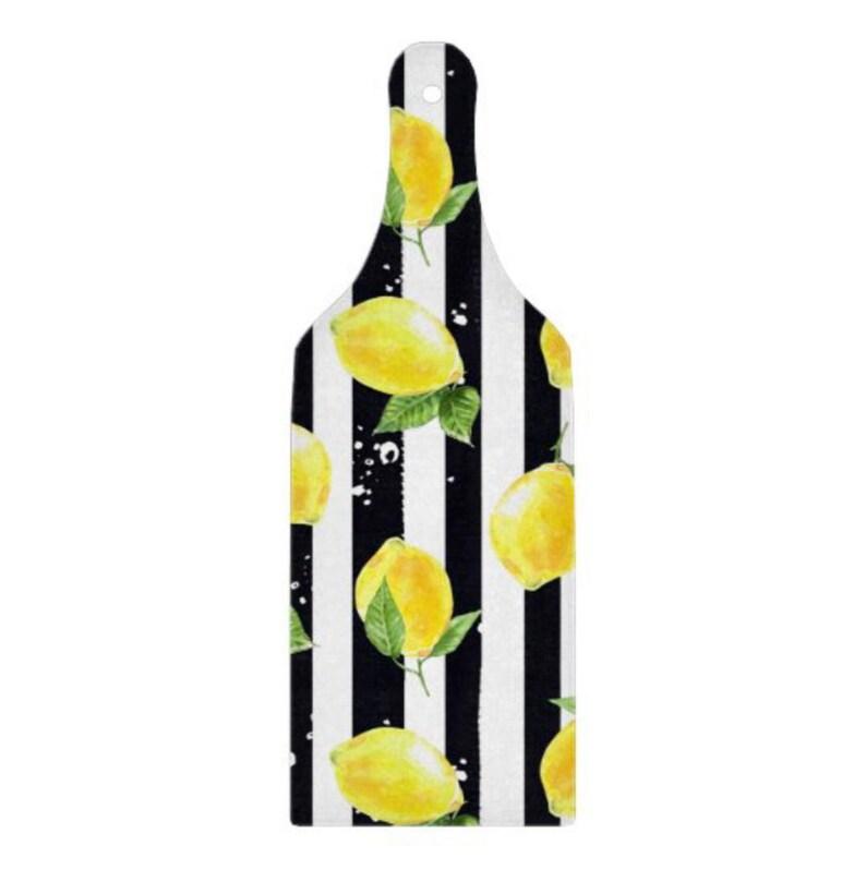Lemon Glass Cutting Board Paddle Lemon and Stripe Lemon image 0