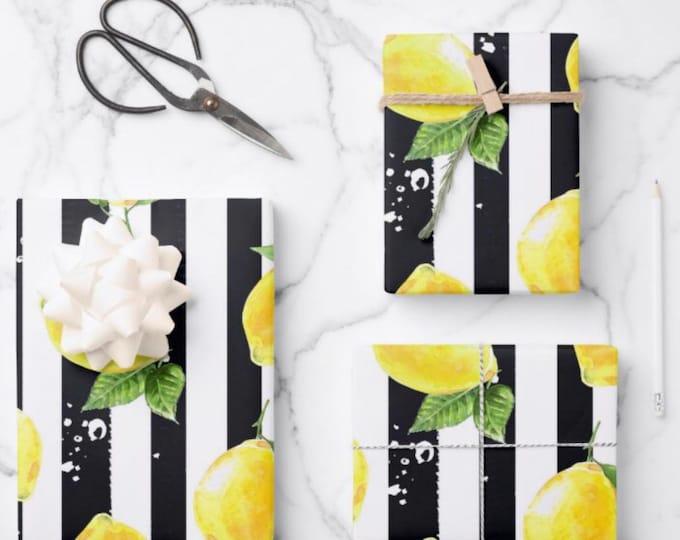 Lemons Wrapping Paper, Lemon and Stripe Pattern, Yellow Lemons with Black and White Stripe, Set of 3, Flat Pre-Cut Sheets