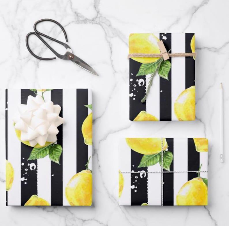Lemons Wrapping Paper Lemon and Stripe Pattern Yellow Lemons image 0
