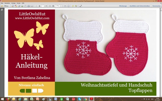 110de Häkelanleitung Weihnachtsstiefel Und Handschuh Etsy