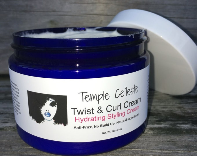 Twist & Curl Cream/All Natural, Hydrating Cream, Moisturizer, Flax Seed, Essential Oils, Scented, Braid-out, Anti-Frizz, Gel